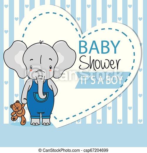 jongen, card., teddy, douche, schattig, elefant, baby - csp67204699