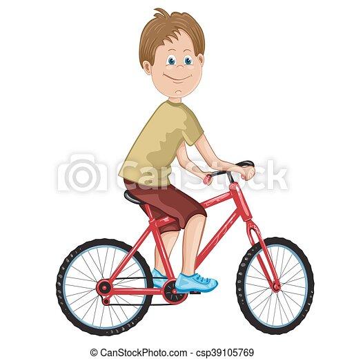 jongen, fiets, illustratie, paardrijden - csp39105769