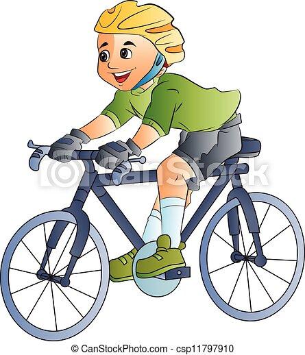 jongen, fiets, illustratie, paardrijden - csp11797910