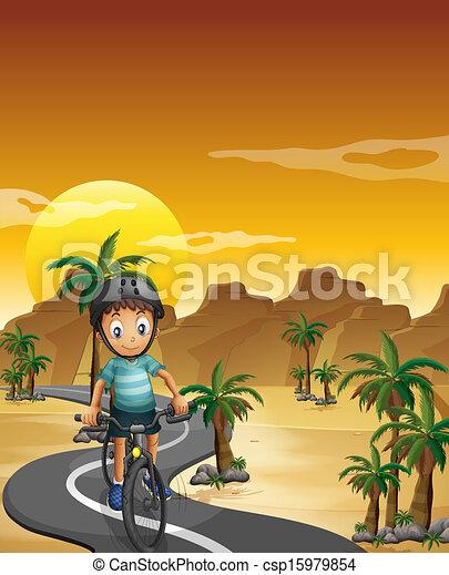 jongen, het reizen, zijn, fiets - csp15979854
