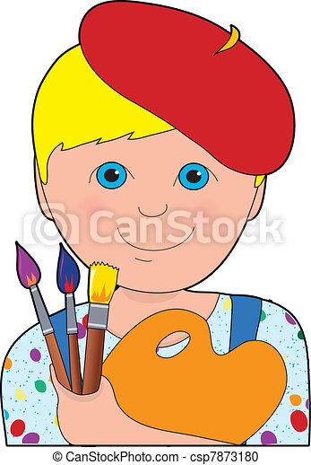 jongen, kunstenaar, kind - csp7873180