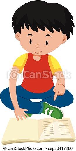 jongen lees, jonge, boek - csp58417266