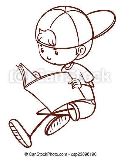 jongen lees, jonge - csp23898196