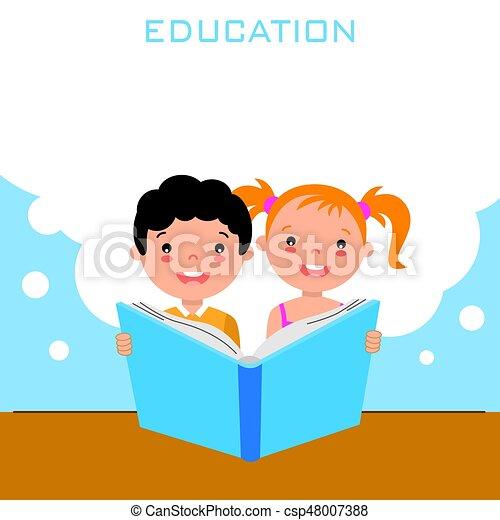 jongen, meisje, boek, lezende  - csp48007388