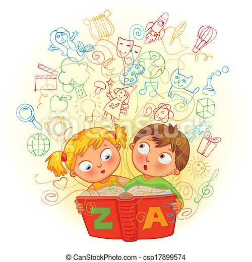 jongen, meisje, boek, magisch, lezende  - csp17899574