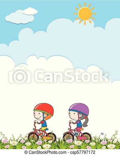 jongen, meisje, fiets te rijden - csp57797172