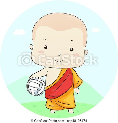 jongen, monnik, volleybal, geitje - csp48108474