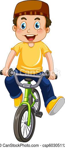 jongen, moslim, fiets te rijden - csp60305112