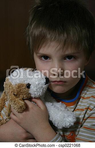 jongen, ongelukkig - csp0221068