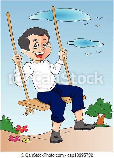 jongen, schommel, illustratie - csp13395732