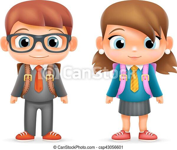 jongen, school, set, illustrator, karakter, vrijstaand, realistisch, vector, ontwerp, pupil, kind, 3d, meisje, opleiding, spotprent, pictogram - csp43056601