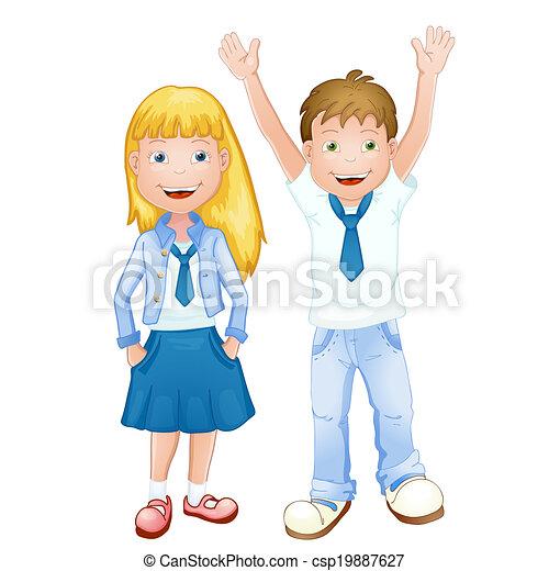 jongen, schoolmeisjes, uniform - csp19887627