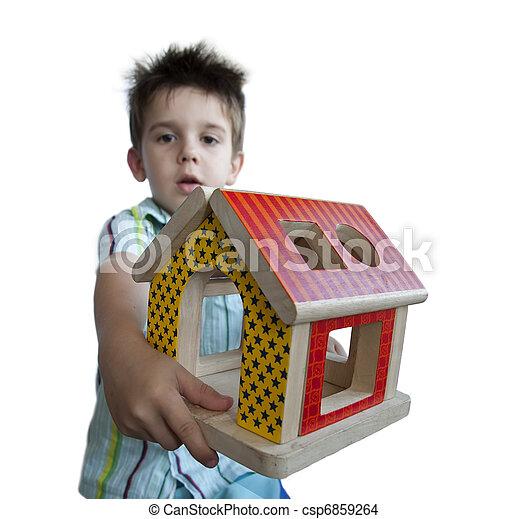 jongen, speelbal, kleurrijke, woning, hout, het voorstellen - csp6859264