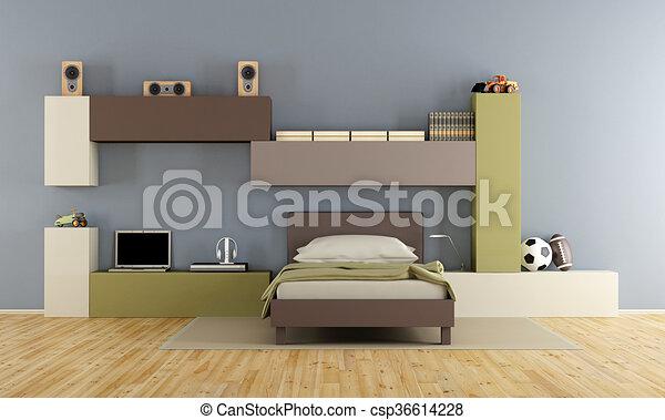 Jongen tiener slaapkamer. blauwe jongen tiener kamer bruine