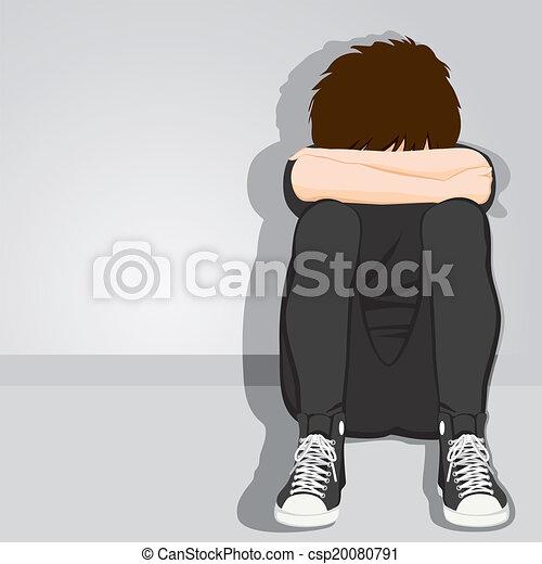 jongen, tiener, wanhopig, verdrietige  - csp20080791