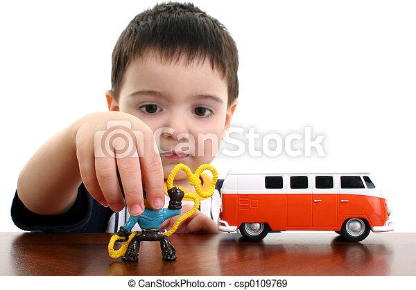 jongen, toneelstuk, kind, speelgoed - csp0109769