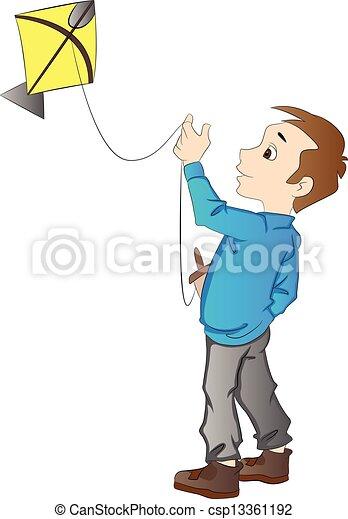 jongen, vlieger, vliegen, illustratie - csp13361192