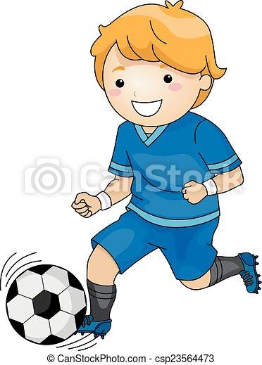 jongen, voetbal - csp23564473