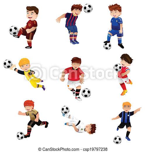 jongen, voetbal, spelend - csp19797238