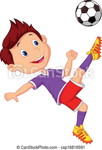 jongen, voetbal, spotprent, spelend - csp16816591
