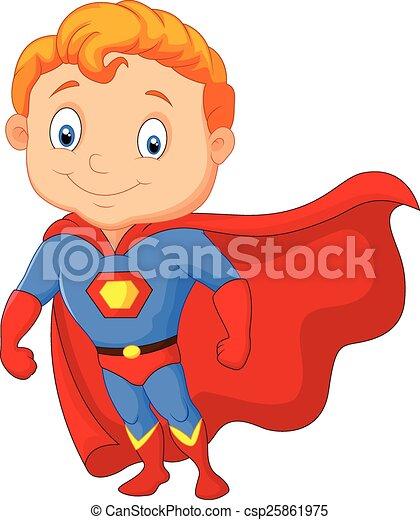 jongen, weinig; niet zo(veel), superhero, spotprent - csp25861975