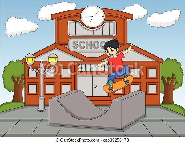 jongen, weinig; niet zo(veel), skateboard, spelend - csp33256173