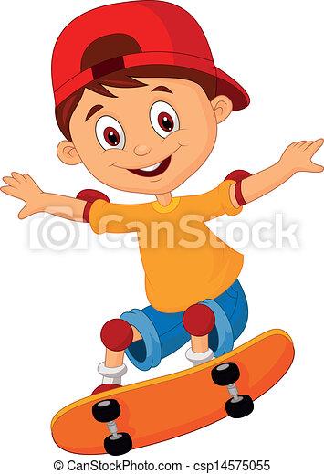 jongen, weinig; niet zo(veel), spotprent, skateboarding - csp14575055