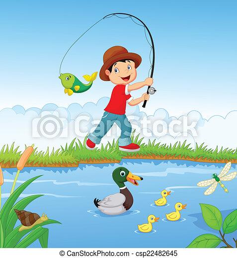 jongen, weinig; niet zo(veel), spotprent, visserij - csp22482645