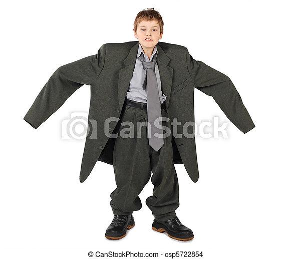 jongen, weinig; niet zo(veel), groot, grijze , laarzen, vrijstaand, achtergrond, kostuum, nads, witte , man's, kanten - csp5722854