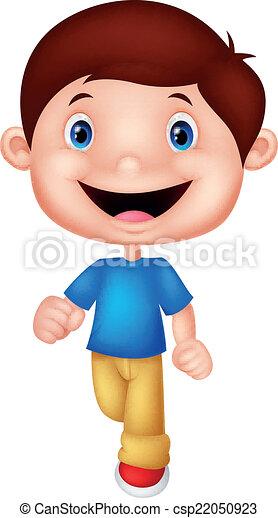 jongen, weinig; niet zo(veel), spotprent, wandelende - csp22050923
