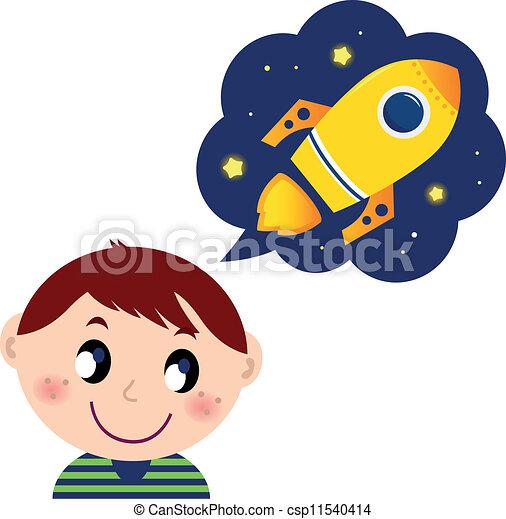 jongen, weinig; niet zo(veel), speelgoed raket, over, dromen - csp11540414