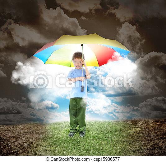 jongen, zonneschijn, stralen, paraplu, hoop - csp15936577