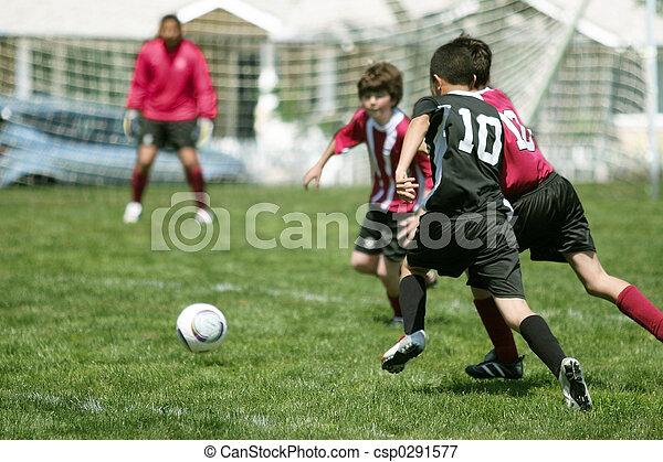 jongens, voetbal, spelend - csp0291577