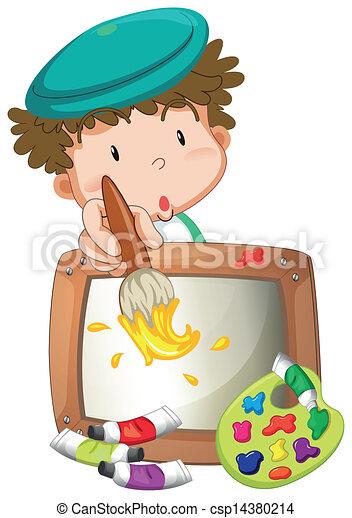 jongetje, schilderij - csp14380214