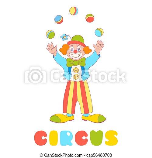 Jongleur Cirque Isole Clown Vecteur Blanc Jongleur Cirque