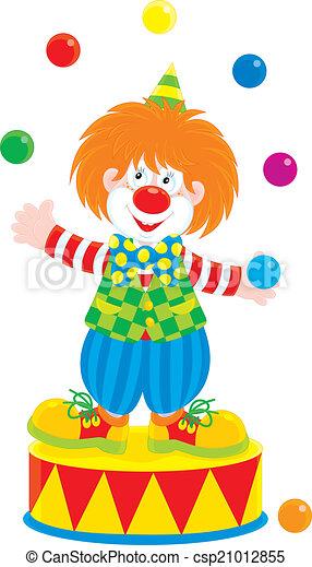Dessin De Clown En Couleur jongleur, clown. balles, jugging, couleur, clown cirque, rouges.
