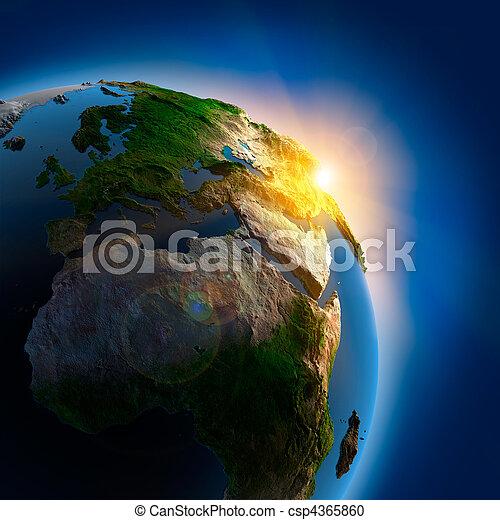 jord, hen, ydre, solopgang, arealet - csp4365860