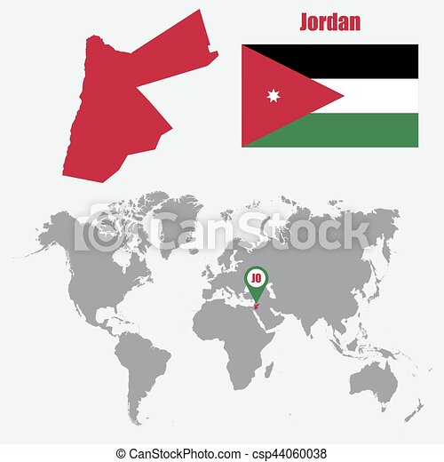 Jordan map on a world map with flag and map pointer. Vector illustration