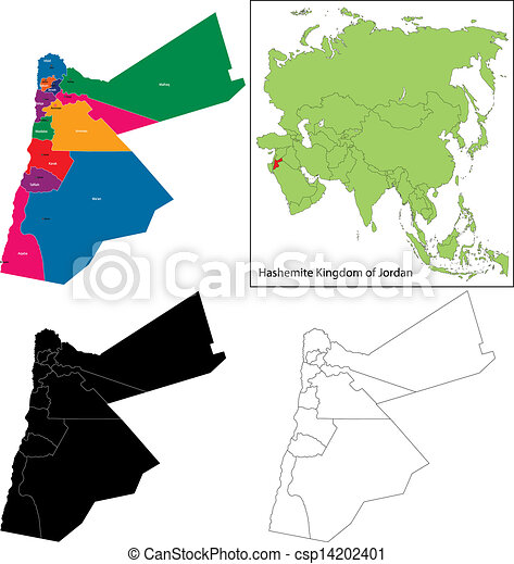 Jordan map Map of administrative divisions of jordan vector clipart