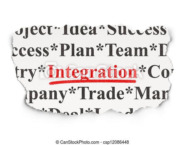 jornal, rasgado, palavras, integração, fundo - csp12086448