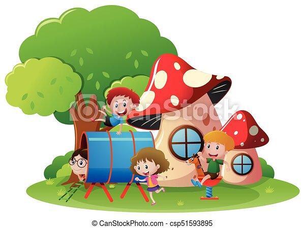 jouer, cour de récréation, enfants - csp51593895