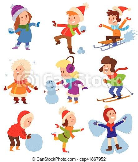 jouer, gosses, jeux, hiver, noël - csp41867952