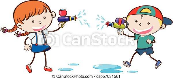 jouer, griffonnage, eau, gosses, fusil - csp57031561