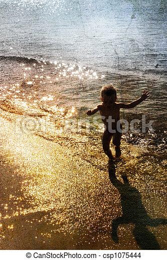 jouer, mer, enfant - csp1075444