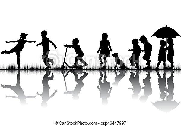 jouer, silhouettes, enfants - csp46447997