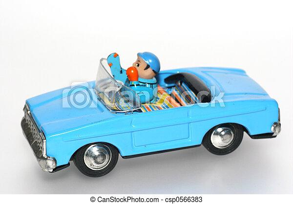 jouet, étain, chauffeur, voiture, + - csp0566383