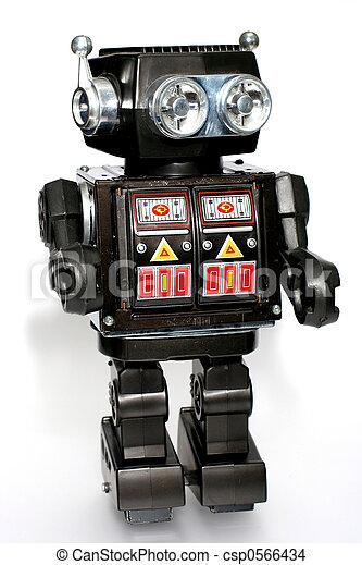 jouet, étain, robot, vieux - csp0566434