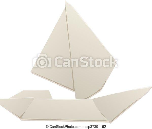 Jouet Bateau Vecteur Illustration Vieux Croisiere Origami Bateau Enfants Bateau Jouet Voilier Voyage Blanc Canstock