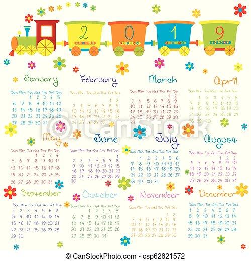 jouet, gosses, train, 2019, calendrier, fleurs - csp62821572