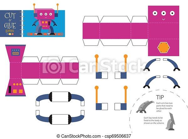 jouet, illustration., worksheet, métier, robot, papier, coupure, vecteur, colle, dessin animé - csp69506637